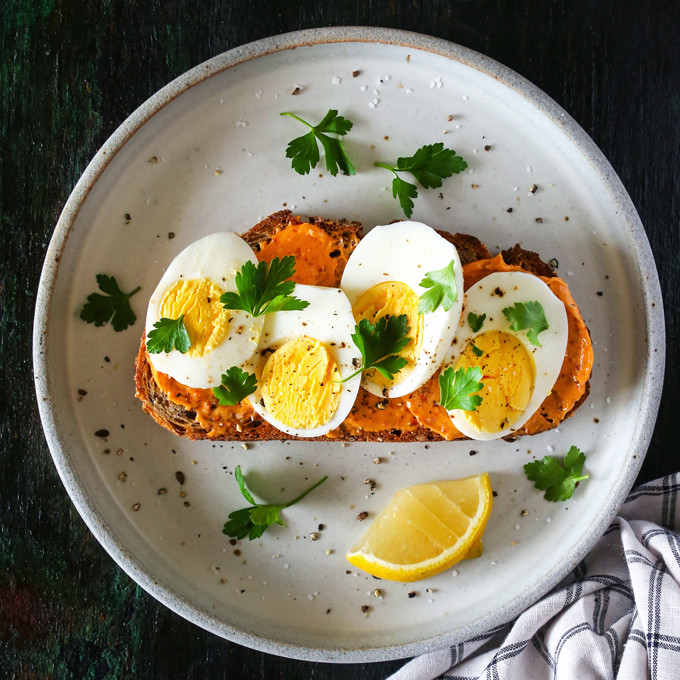 Healthy Breakfast With Hard Boiled Eggs  Hard Boiled Egg Toast with Harissa Butter