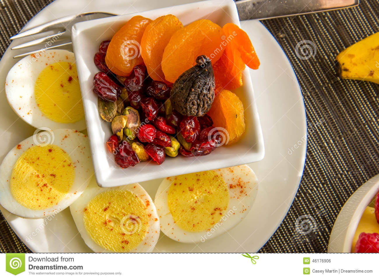 Healthy Breakfast With Hard Boiled Eggs  Sliced Hard Boiled Eggs And Fruit Nutricious Breakfast
