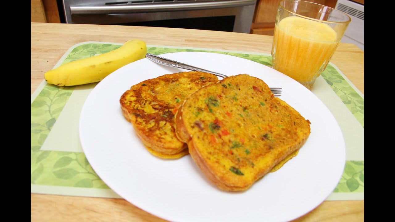 Healthy Breakfast Without Eggs  No Eggs Besan Bread Omelette Video Recipe by Bhavna
