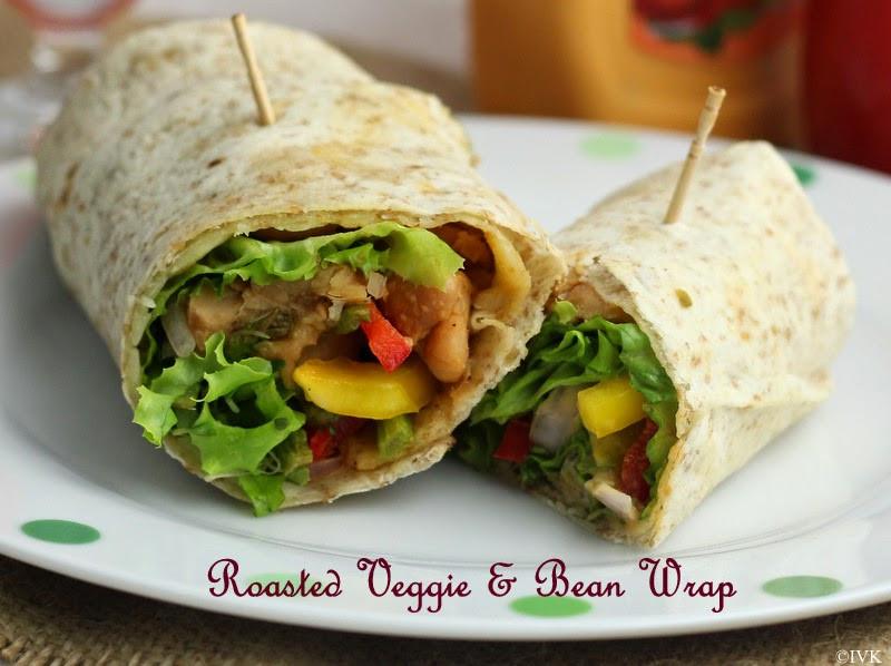 Healthy Breakfast Wrap Recipes  IndianVegKitchen Roasted Veggie & Bean Sandwich Wrap