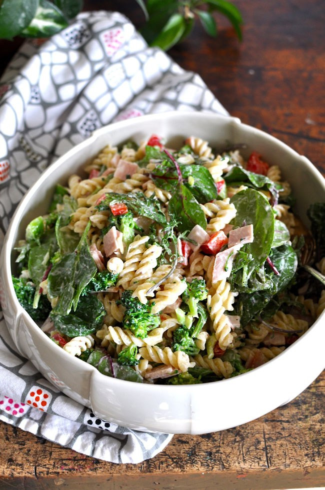 Healthy Broccoli Pasta Salad  Ham and Broccoli Pasta Salad with Creamy Yogurt Dressing