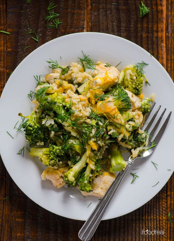 Healthy Broccoli Rice Casserole  Healthy Chicken Broccoli Rice Casserole iFOODreal