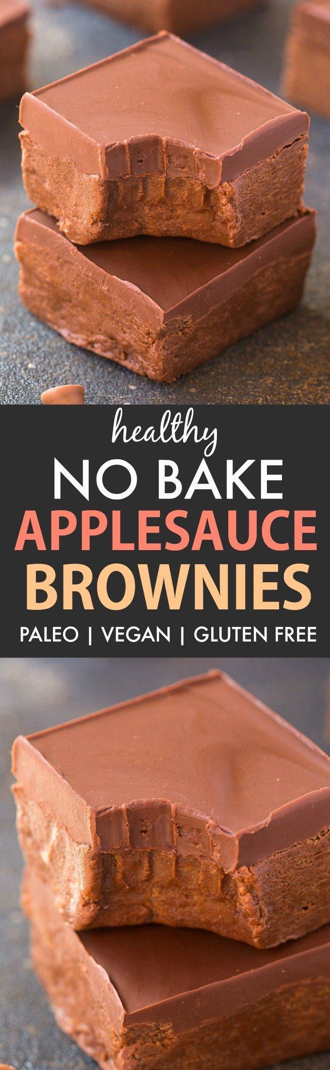 Healthy Brownies With Applesauce  Healthy No Bake Applesauce Brownies Paleo Vegan Gluten