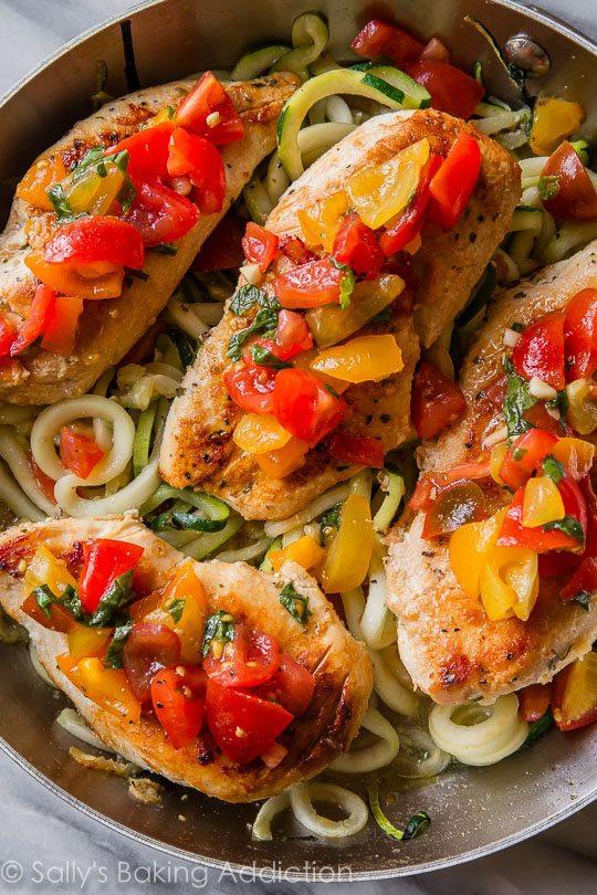 Healthy Bruschetta Chicken  Skillet Bruschetta Chicken Dinner Sallys Baking Addiction