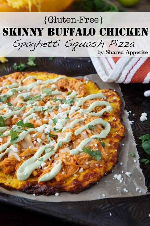 Healthy Buffalo Chicken Pizza  Gluten Free Skinny Buffalo Chicken Spaghetti Squash Pizza