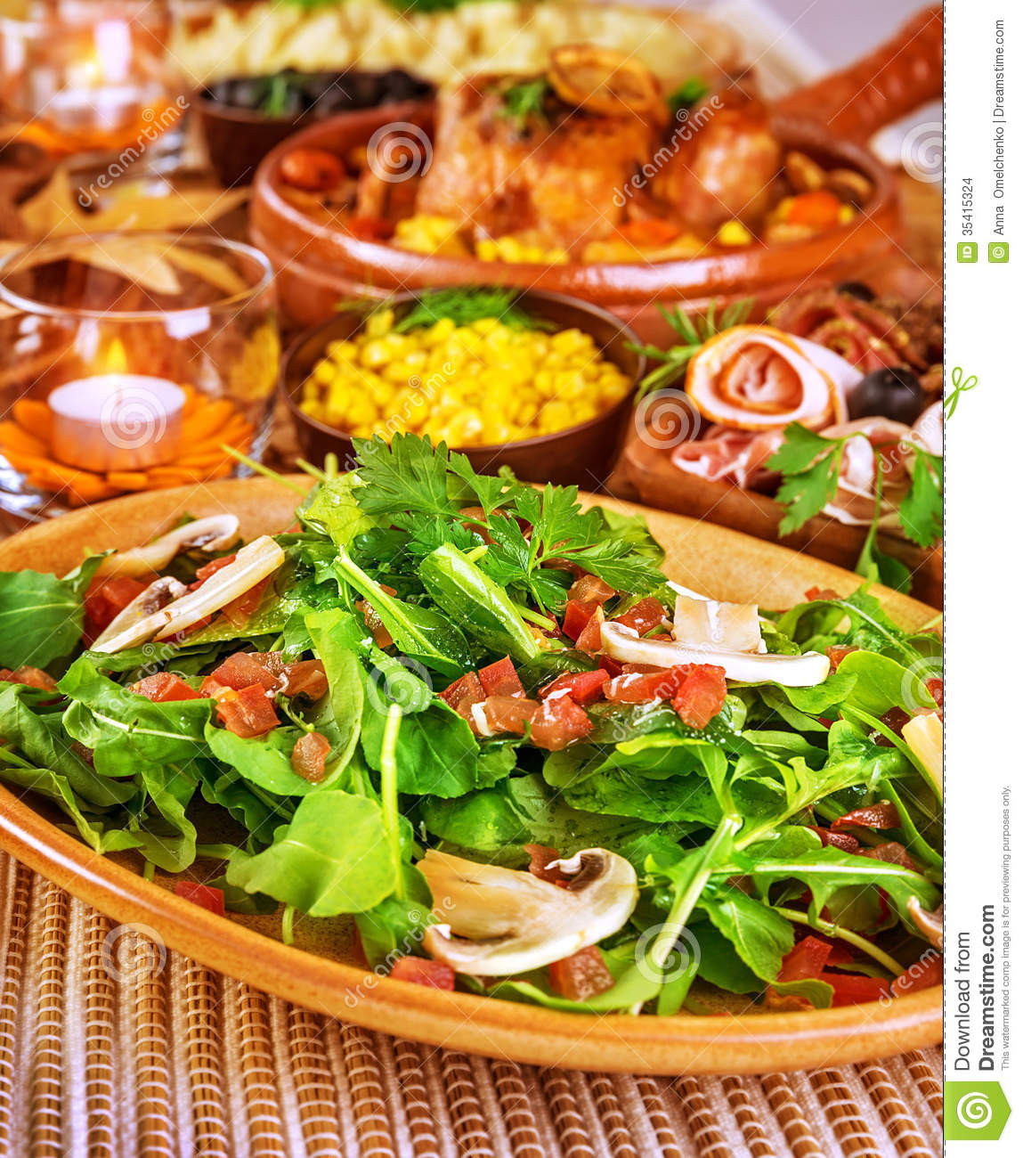 Healthy But Tasty Snacks  Fresh rocket salad stock photo Image of party appetizer