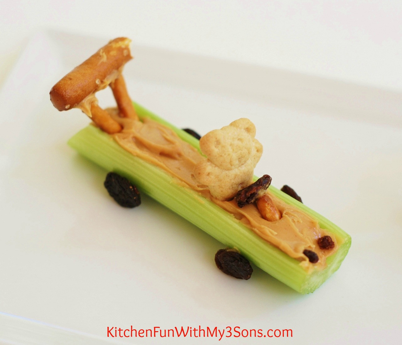 Healthy Car Snacks  Celery Teddy Race Cars Kitchen Fun With My 3 Sons