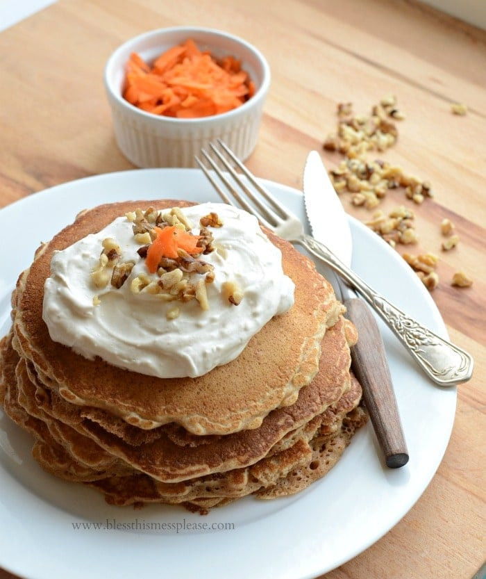 Healthy Carrot Cake Pancakes  Whole Grain Carrot Cake Pancakes with Maple Topping