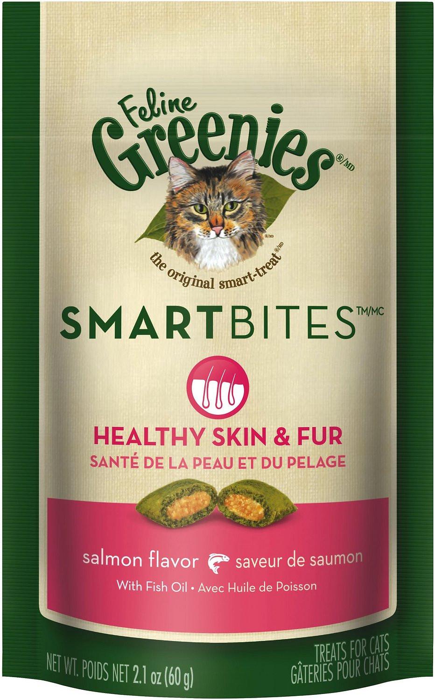 Healthy Cat Snacks  Greenies Feline SmartBites Healthy Skin & Fur Salmon
