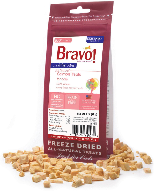 Healthy Cat Snacks  Bravo Healthy Bites Salmon Freeze Dried Cat Treats 1 oz