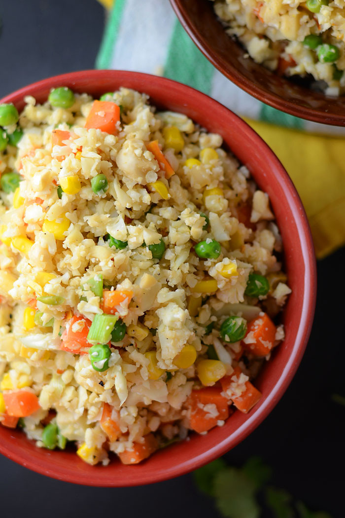 Healthy Cauliflower Fried Rice  Healthy Vegan Cauliflower Fried Rice