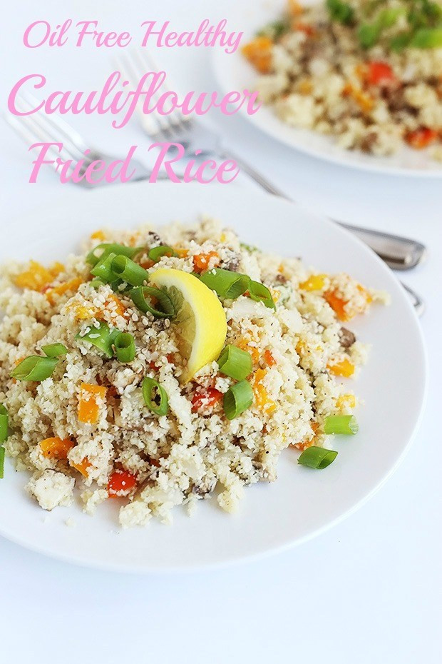 Healthy Cauliflower Fried Rice  Oil Free Healthy Cauliflower Fried Rice TwoRaspberries