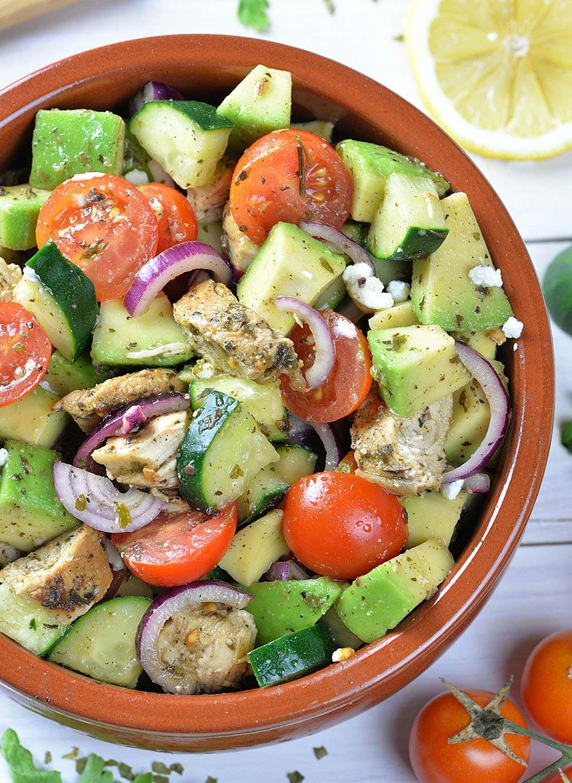 Healthy Chicken And Avocado Recipes  Healthy Chicken Cucumber Tomato and Avocado Salad OMG