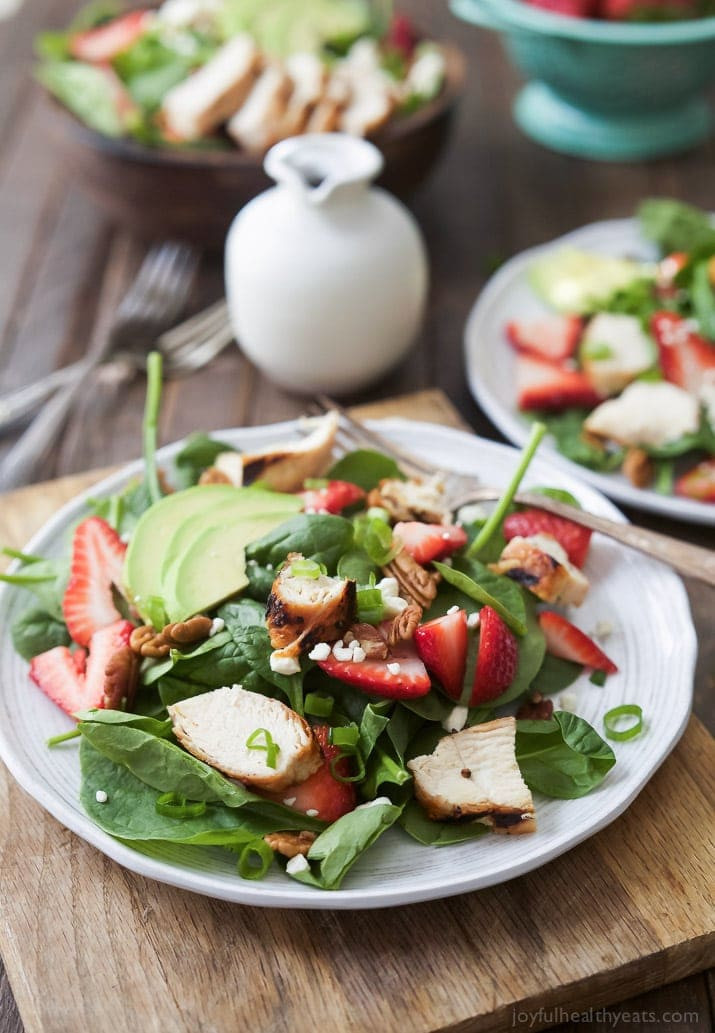 Healthy Chicken And Avocado Recipes  Strawberry Avocado Chicken Salad with Balsamic Vinaigrette