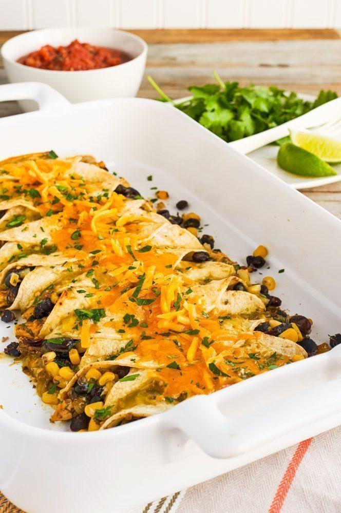 Healthy Chicken And Black Bean Enchiladas  High Fiber Chicken and Black Bean Enchiladas