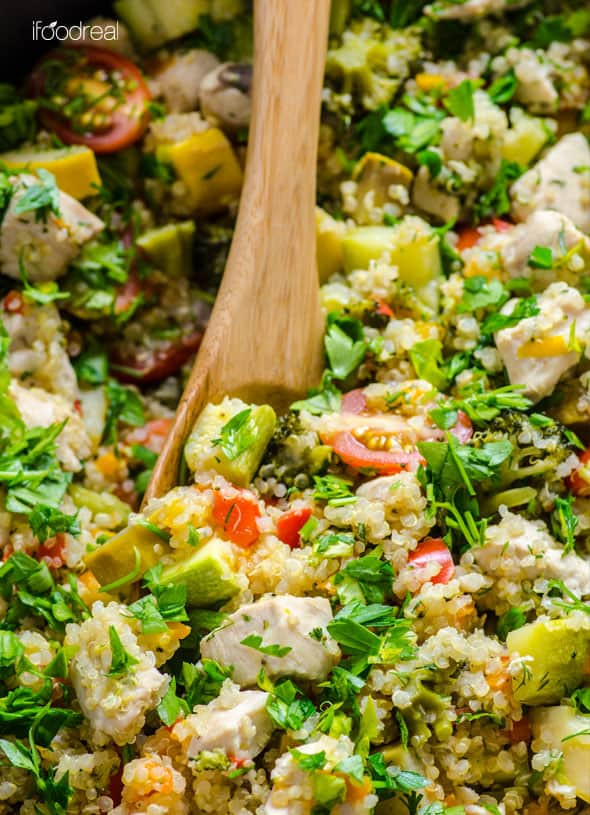 Healthy Chicken And Quinoa Recipes  Quinoa Skillet with Chicken and Garden Veggies iFOODreal