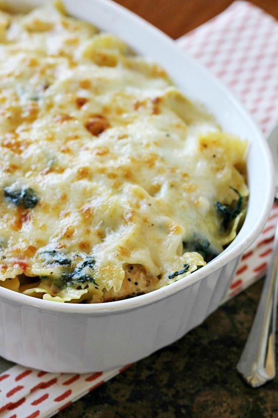 Healthy Chicken And Spinach Casserole  Spinach Artichoke Chicken Pasta Bake Call Me PMc