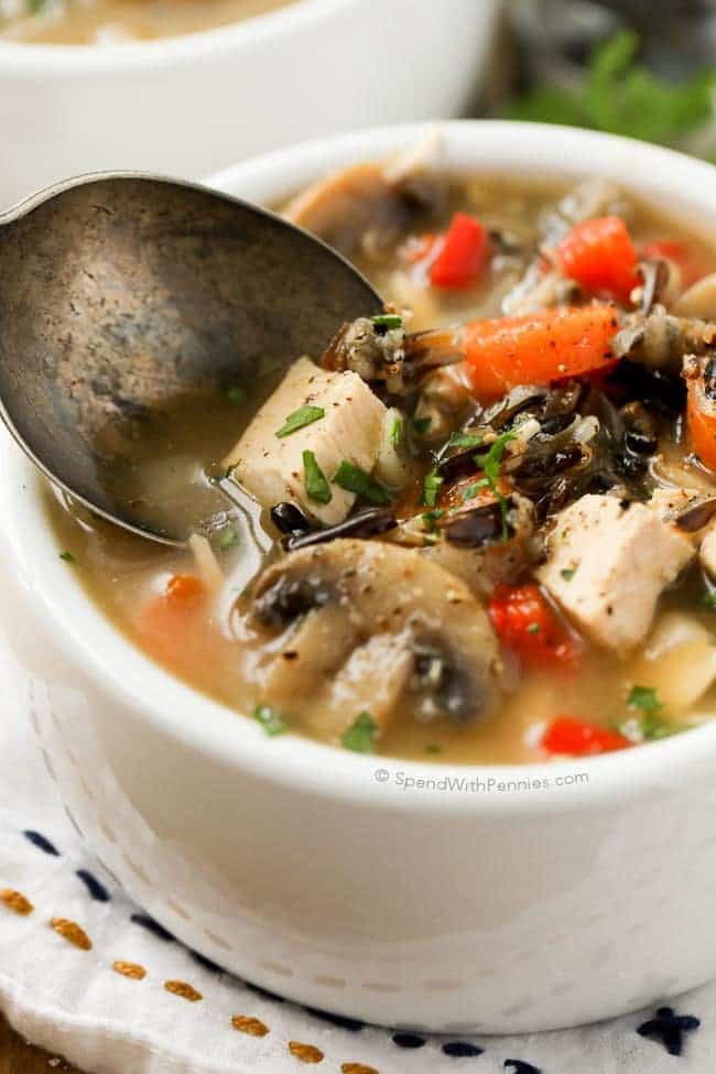 Healthy Chicken And Wild Rice Soup  Chicken Wild Rice Soup no cream Spend With Pennies