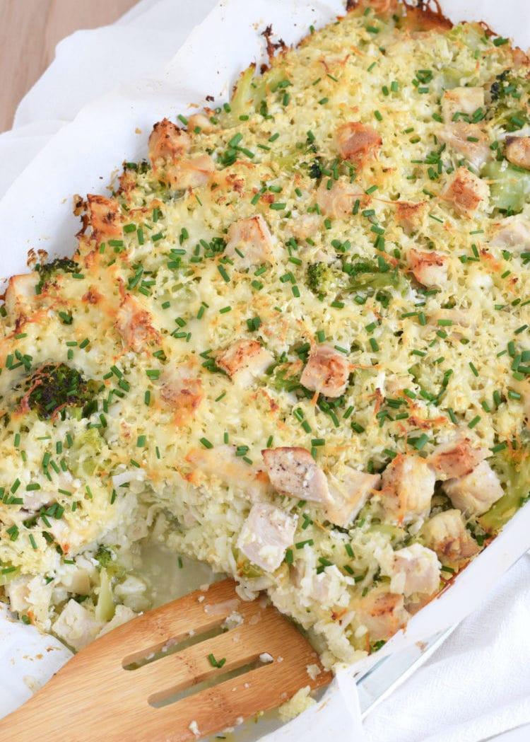 Healthy Chicken Broccoli Rice Casserole  Broccoli & Cauliflower Rice Chicken Casserole Isabel Eats