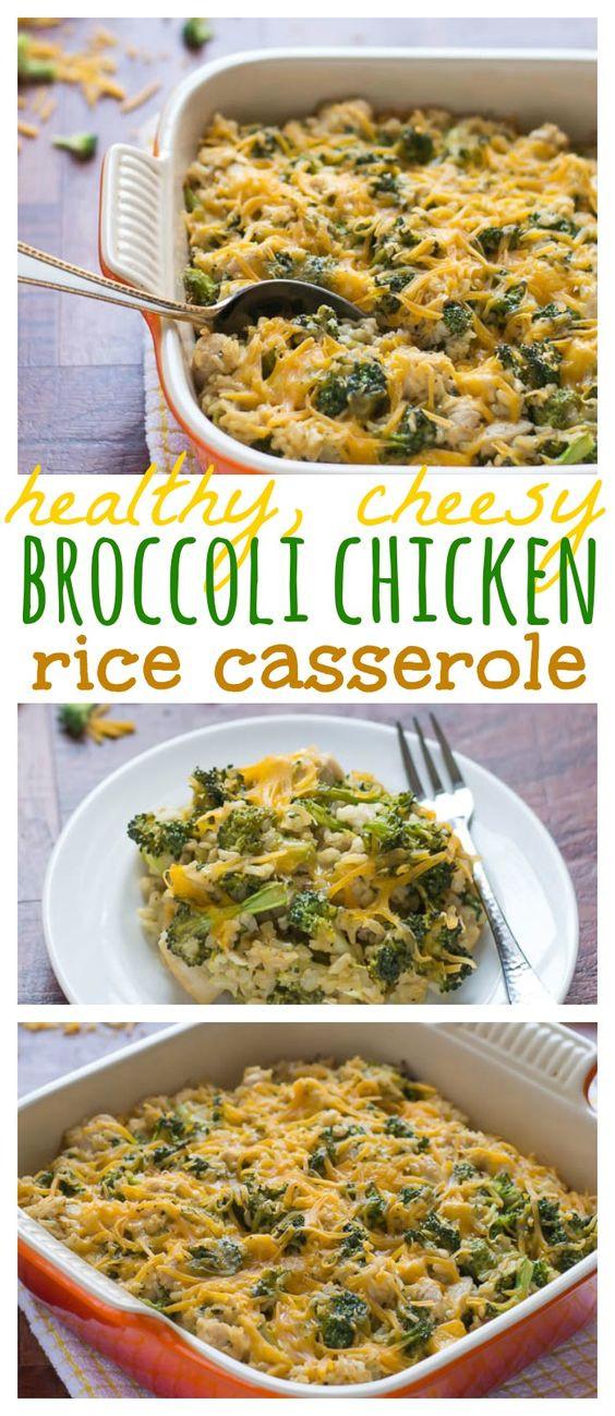 Healthy Chicken Broccoli Rice Casserole  Healthy Cheesy Chicken Broccoli Rice Casserole