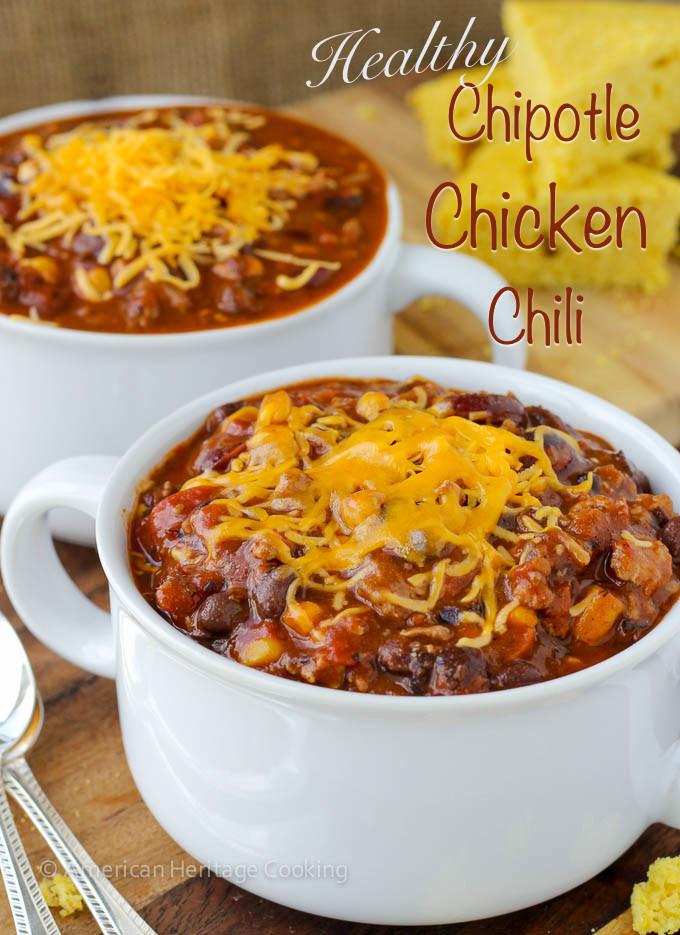Healthy Chicken Chili  Healthy Chipotle Chicken Chili Shaker Cornbread