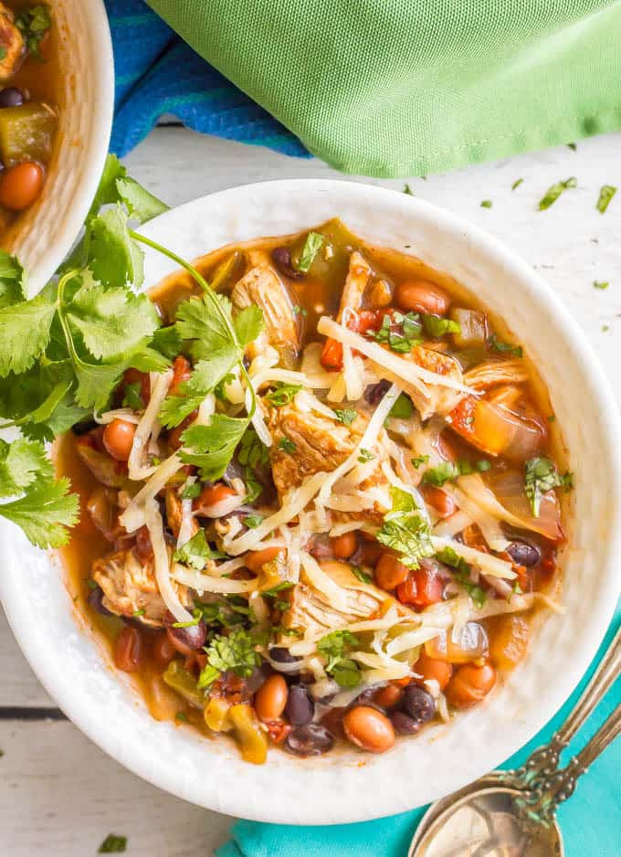 Healthy Chicken Chili Slow Cooker  Healthy slow cooker chicken chili Family Food on the Table