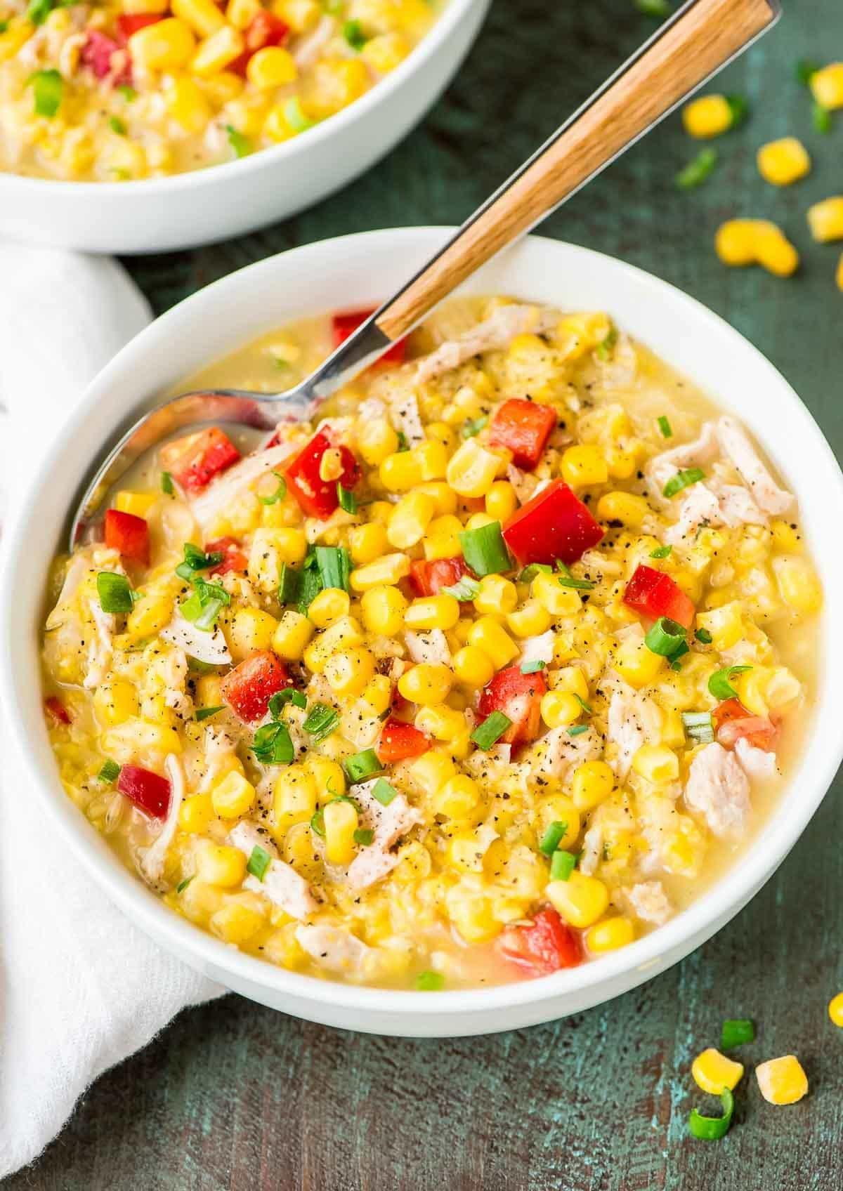 Healthy Chicken Corn Chowder  Crock Pot Corn Chowder