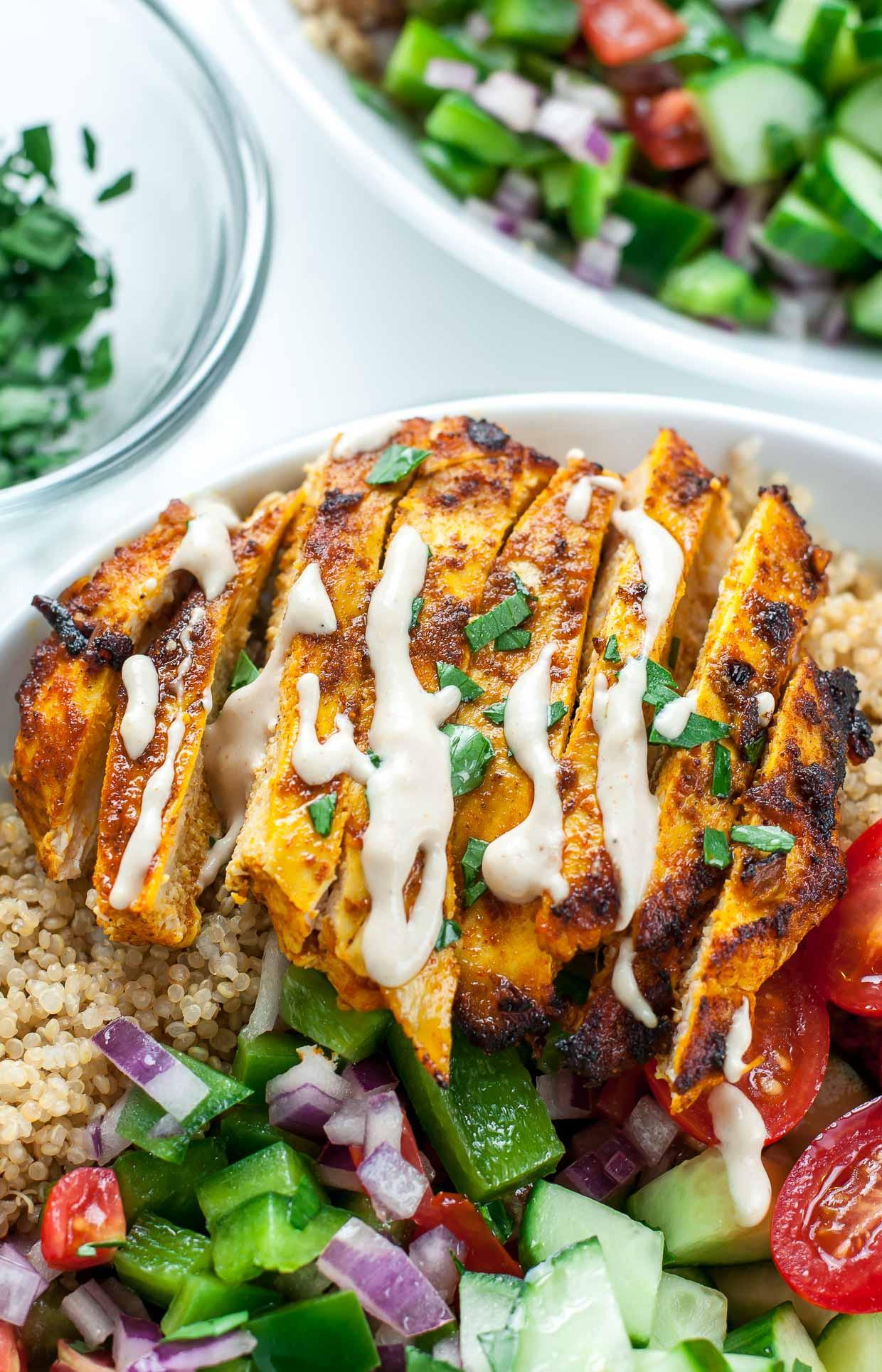 Healthy Chicken Dinner Recipes  Healthy Chicken Shawarma Quinoa Bowls Peas And Crayons