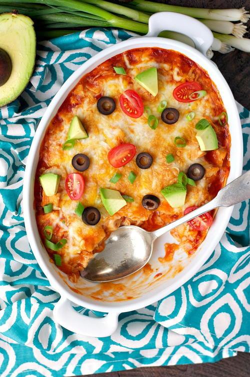 Healthy Chicken Enchilada Casserole  4 Ingre nt Healthy Chicken Enchilada Casserole