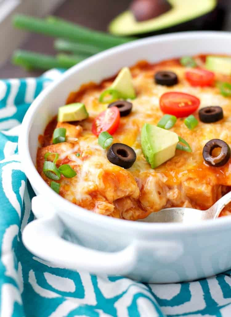 Healthy Chicken Enchilada Casserole  Weekend Recap Green Muffins an At Home Workout The