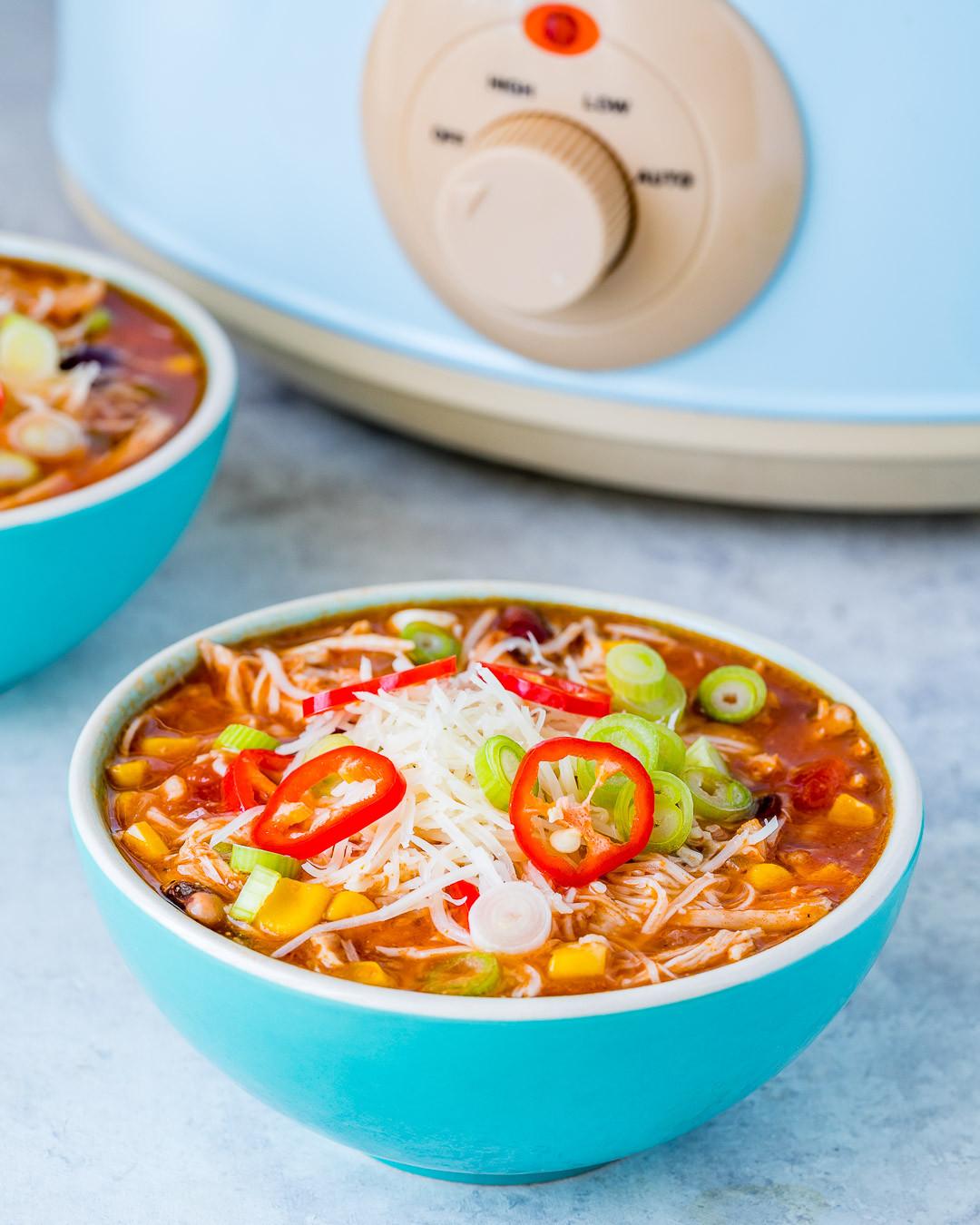 Healthy Chicken Enchilada Soup  Eat Clean Crockpot Chicken Enchilada Soup is Fast & Easy