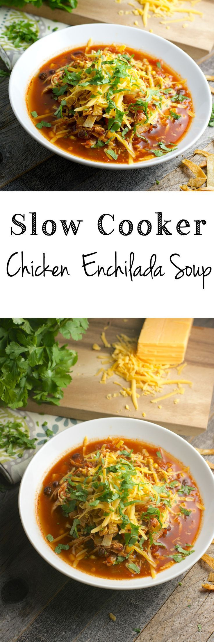 Healthy Chicken Enchilada Soup  Slow Cooker Chicken Enchilada Soup Healthy easy and