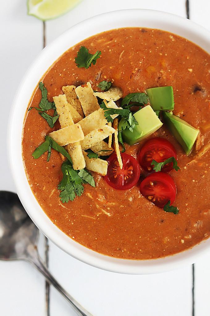 Healthy Chicken Enchilada Soup  Slow Cooker Chicken Enchilada Soup Creme De La Crumb