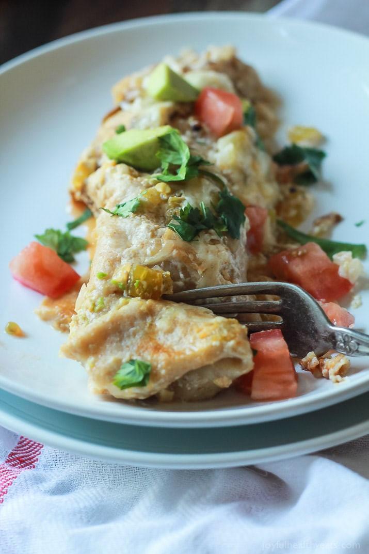 Healthy Chicken Enchiladas With Green Sauce  Easy Chicken Enchilada Recipe with Creamy Green Chili