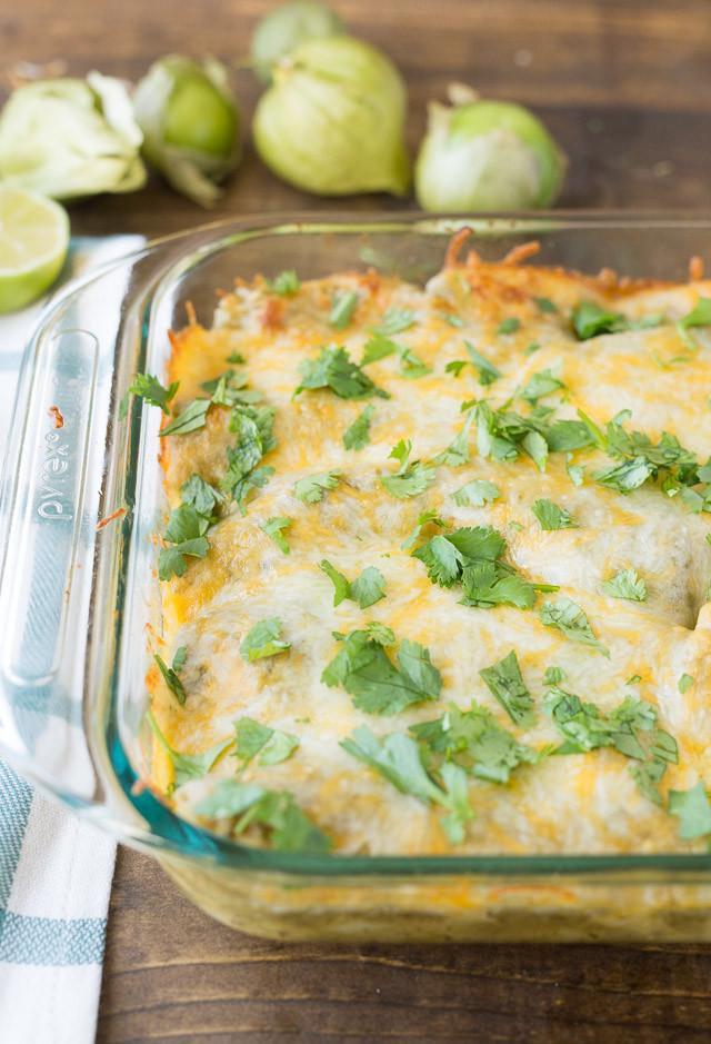 Healthy Chicken Enchiladas With Green Sauce  Green Chili Chicken Enchiladas