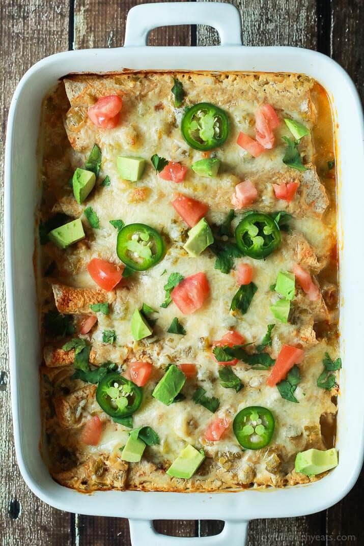 Healthy Chicken Enchiladas With Green Sauce  Chicken Enchiladas with Creamy Green Chili Sauce Julie s