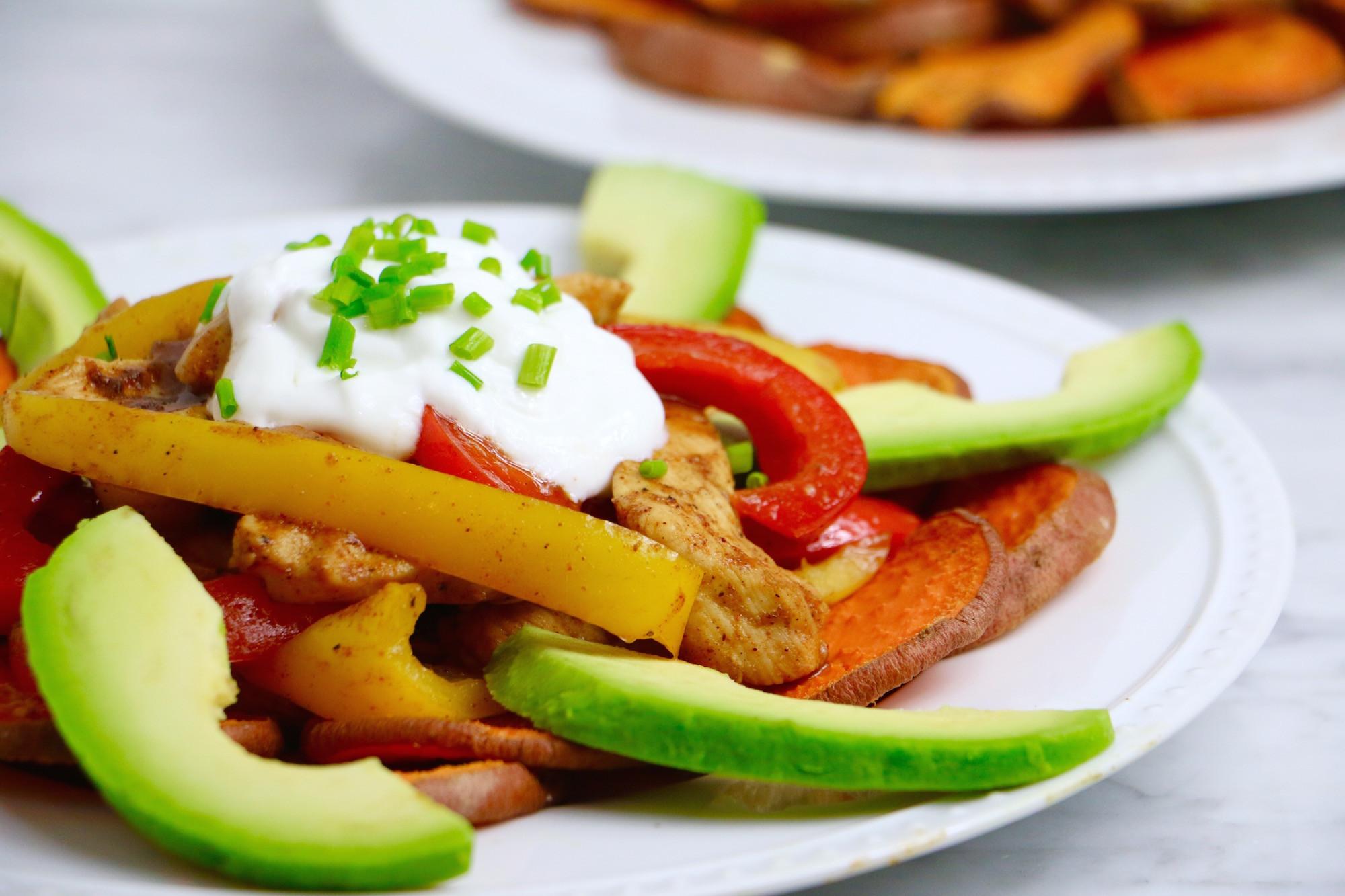 Healthy Chicken Fajitas  Healthy Chicken Fajita Sweet Potato Nachos Whitney E RD