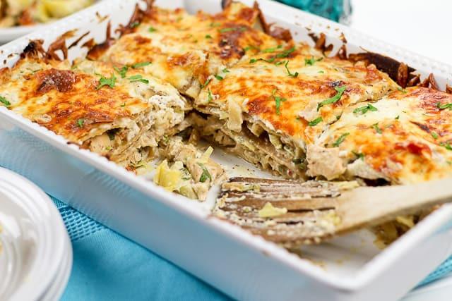 Healthy Chicken Lasagna  Cheesy Chicken and Artichoke Lasagna • The Healthy Foo