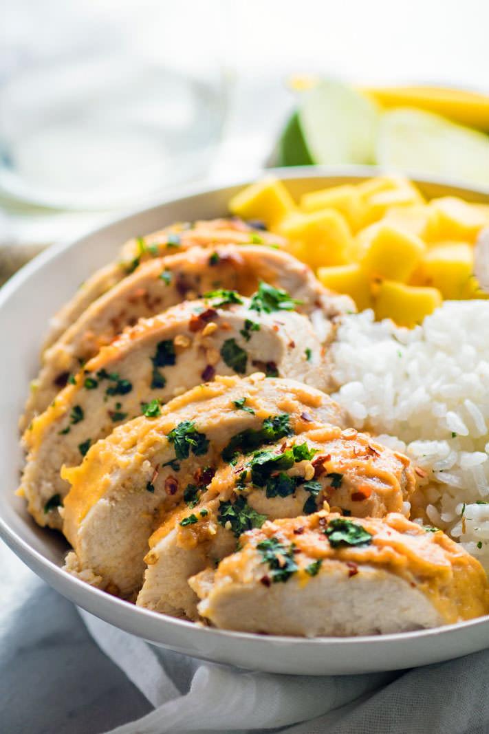 Healthy Chicken Marinades  Healthy Chili Lime Mango Marinated Chicken Bowls Gluten Free