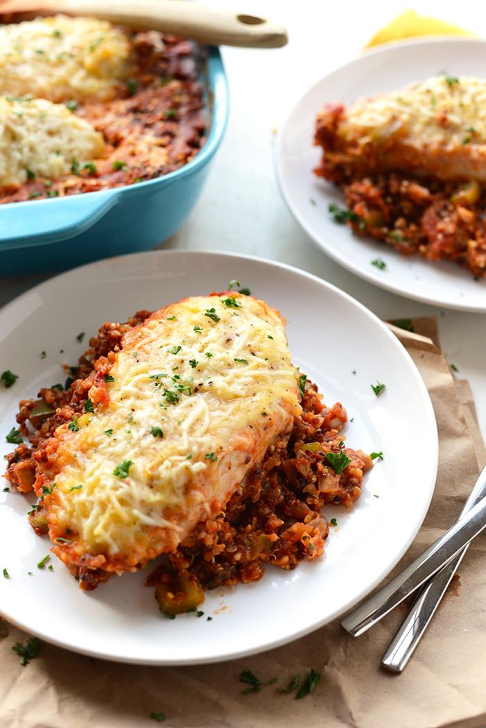 Healthy Chicken Parmesan Casserole  Healthy Chicken Parmesan Quinoa Bake Fit Foo Finds