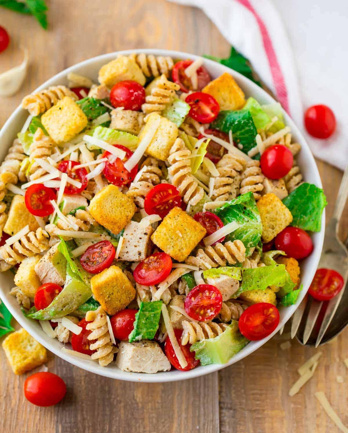 Healthy Chicken Pasta Salad  Chicken Caesar Pasta Salad