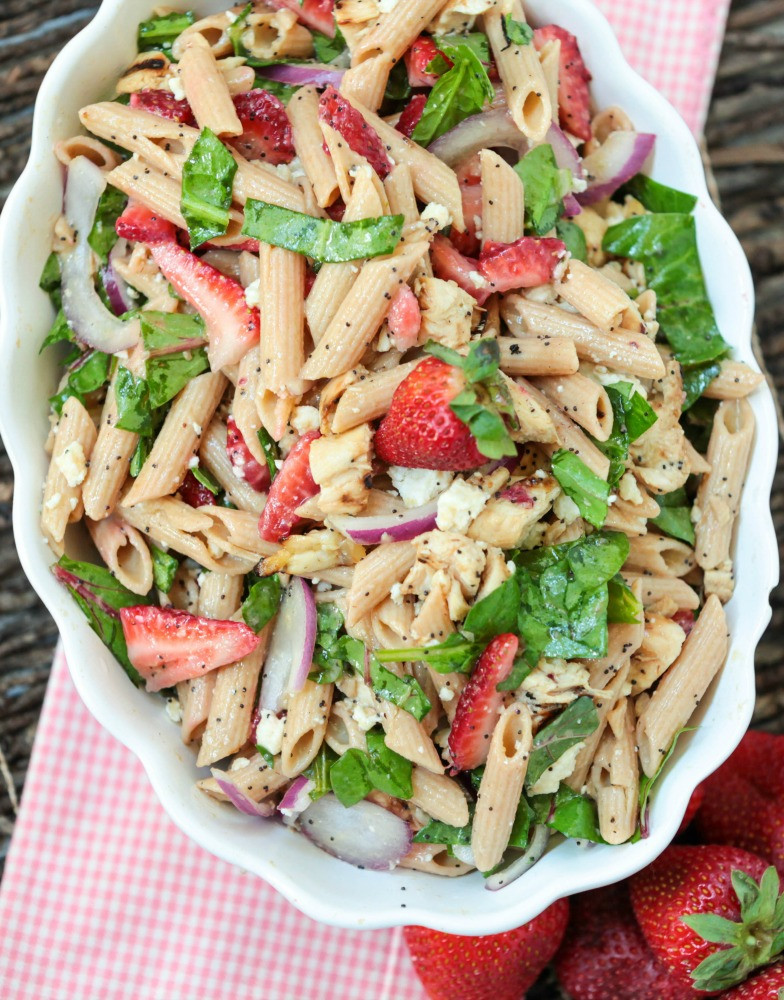 Healthy Chicken Pasta Salad  Healthy Pasta Salad with Strawberry Poppy Seeds and