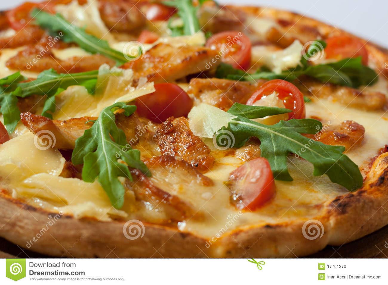 Healthy Chicken Pizza  Italian Healthy Chicken Pizza Stock Image