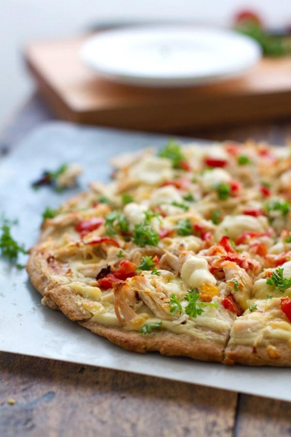 Healthy Chicken Pizza  Healthy Chicken Alfredo Pizza Pinch of Yum