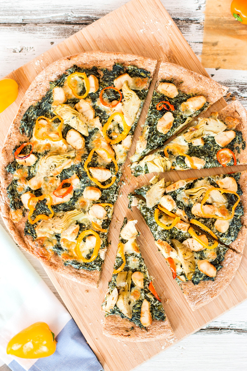 Healthy Chicken Pizza  Healthy Spinach Artichoke Chicken Pizza