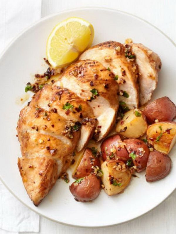 Healthy Chicken Recipes For Dinner  Garlic Chicken and Potatoes Recipe