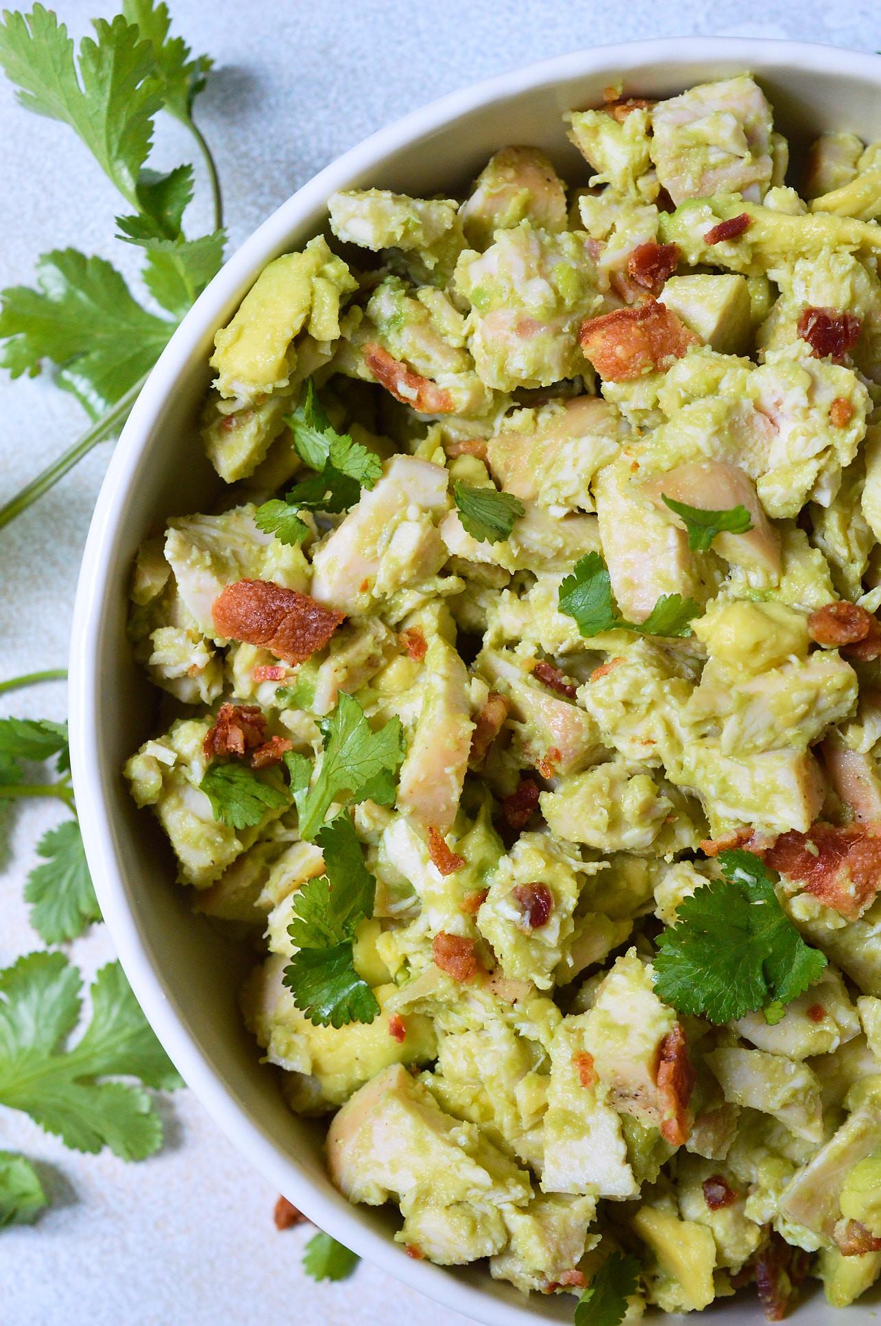 Healthy Chicken Salad Recipe No Mayo  Bacon Avocado Chicken Salad Whole30 Recipe WonkyWonderful
