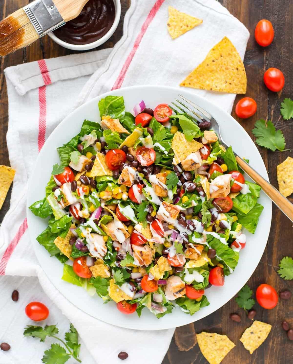 Healthy Chicken Salad Recipe  BBQ Chicken Salad with Creamy Ranch