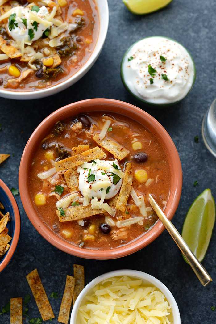Healthy Chicken Soup  Crock Pot Chicken Tortilla Soup with Kale Fit Foo Finds