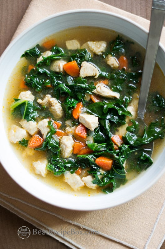 Healthy Chicken Soup  how to chop kale for soup